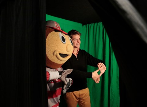 Brutus and a student at the photobooth