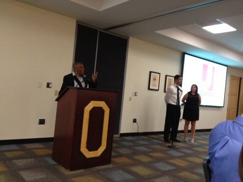 Vice President, Dr. Javaune Adams-Gaston (Dr. J) addresses Community Ambassadors and Alumni